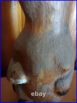1996 Big Sky Carvers Raccoon Fish Wood Pine Carved Sculpture
