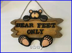 BEARFOOTS Jeff Fleming Big Sky Carvers Bear Feet Only Sign over 14 wide Super