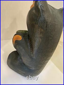 BEARFOOTS Jeff Fleming Big Sky Carvers Solid Wood Large Bear withFish RARE