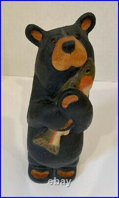 BEARFOOTS Jeff Fleming Big Sky Carvers Solid Wood Standing Bear withFish RARE