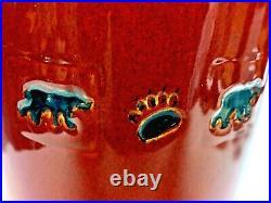 BIG BEAR Vase by Big Sky Carvers Bear & Footprints 13 Tall Deep Red/Taupe