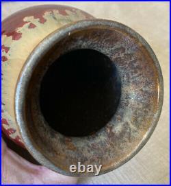 BIG BEAR Vase by Big Sky Carvers Bear & Footprints 9 Tall Deep Red/Taupe EUC
