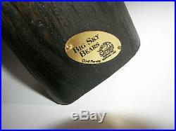BIG SKY BEARS Carver Jeff Fleming Hand-Carved Black Bear Hugging Fish Sculpture