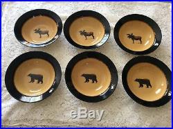 BRUSHWERKS MOOSE-BEAR by BIG SKY CARVERS SET OF 6 DEEP 9 1/4 SOUP BOWLS
