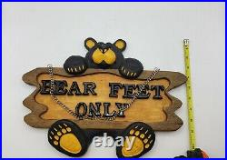Bear Feet Only Plaque, Big Sky Carvers, Retired, Jeff Fleming