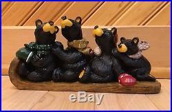 Bearfoot Bears Family Bear Sled team 7 Figurine Jeff Fleming Big Sky Carvers