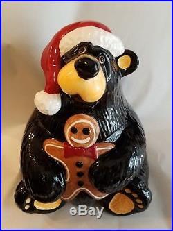 Bearfoots Bear Christmas Cookie Jar Gingerbread Man by Jeff Fleming Big Sky RARE