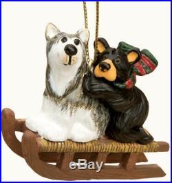Bearfoots Bear and Sled Dog Ornamet Big Sky Carvers Jeff Fleming Christmas