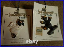 Bearfoots Big Sky Carvers 3 Plush Bears 2 Baubles & 20 Note Cards in Tin