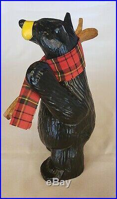 Bearfoots Big Sky Carvers Figurine Al Pine Bear with Skis Wearing Scarf