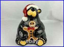 Bearfoots Big Sky Carvers Santa Cookie Jar Bear w Gingerbread Jeff Fleming 12