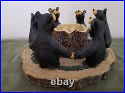 Bearfoots Circle of Bears Candle Holder Big Sky Carvers Jeff Fleming 8 in