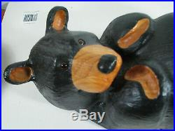 Big Sky Bears Montana Solid Pine Carved 21 Lazy Black Bear