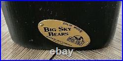 Big Sky Bears Solid Pine Wood Carved Black Bear Holding Fish Jeff Fleming 12