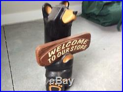 Big Sky Bears Wooden Bear Holding Sign. Used But Not Abused