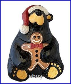 Big Sky Carver BEARFOOTS Christmas Cookie Jar RARE Originl Box NEW MINT Fleming