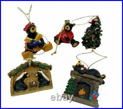 Big Sky Carver Bearfoot Black Bear Christmas Ornament Jeff Fleming Lot Of 5