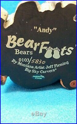 Big Sky CarversBEARFOOTS BearsAndy Bear in Stump Jeff Flemming NOS in Box