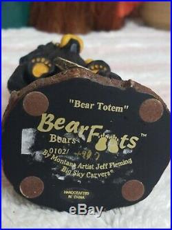 Big Sky Carvers BEARFOOTS JOY Bear Totem with 2 Cubs Jeff Fleming 7