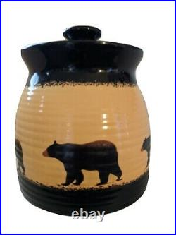 Big Sky Carvers BRUSHWERKS BEAR Rare Large Canister Excellent Condition