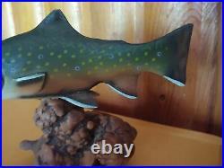 Big Sky Carvers B. Reel Brook Trout Burl Wood Carved Mini Fish Sculpture