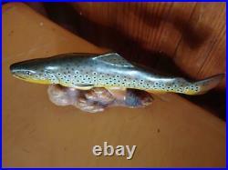 Big Sky Carvers B. Reel Brown Trout Burl Wood Carved Mini Fish Sculpture