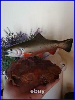Big Sky Carvers B. Reel Cutthroat Trout Burl Wood Carved Mini Fish Sculpture