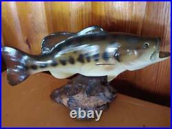 Big Sky Carvers B. Reel Large Mouth Bass Burl Wood Carved Mini Fish Sculpture