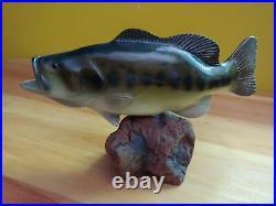 Big Sky Carvers B. Reel Large Mouth Bass Fish Wood Carving on Burl Wood Base