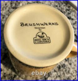Big Sky Carvers Bear Brushwerks Set Of Four Tall Coffee Mugs
