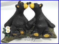 Big Sky Carvers Bear Foots figurine by Jeff Fleming kissing bears on a log 4x6