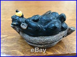 Big Sky Carvers Bearfoots Bear In Canoe Kritter Hollow Trinket Box Figurine