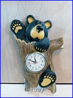 Big Sky Carvers Bearfoots Bear In Log Wall Clock Jeff Fleming Retired