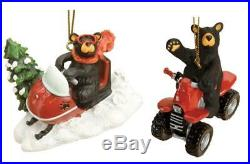 Big Sky Carvers Bearfoots Black Bear ATV Snowmobile Christmas Ornaments Set