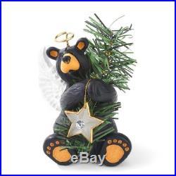 Big Sky Carvers Bearfoots Black Bear Angel Tree Topper Christmas Ornament