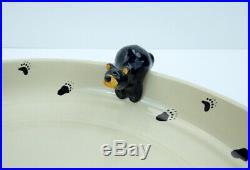 Big Sky Carvers Bearfoots Chip Dip Platter Bowl 14' Diameter Bear Cubs Fleming