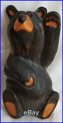 Big Sky Carvers Bearfoots Mikey Waving Black Bear Solid Pine Wood Jeff Fleming