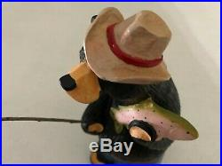 Big Sky Carvers Bearfoots Vintage Jeff Fleming Black Bear Redneck Fishing Bear