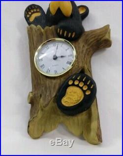 Big Sky Carvers Bearfoots Wall Clock Hanging Bear Cabin Western Decor