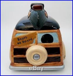 Big Sky Carvers Bearfoots Woodie Wagon Cookie Jar Black Bears Canoe Retired