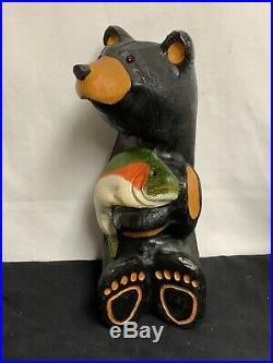 Big Sky Carvers Bears Solid Wood Black Bear Fish Jeff Fleming