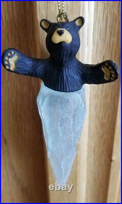 Big Sky Carvers Black Bear Icicle Christmas Ornament Frosted Ice 4 Jeff Fleming