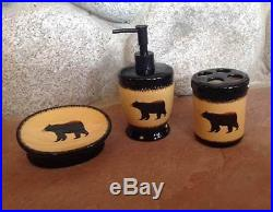 Big Sky Carvers Brushwerks Bear 3 Piece Set Lotion Soap Dish Toothbrush Holder
