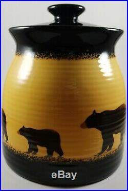 Big Sky Carvers Brushwerks Bear Canister Set of 4 Stoneware