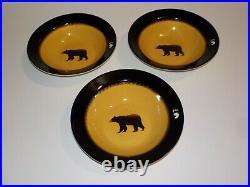 Big Sky Carvers Brushwerks Bear Soup Bowls 9 1/4 Set of 3