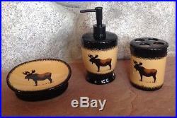 Big Sky Carvers Brushwerks Moose 3 Piece Set Lotion Soap Dish Toothbrush Holder