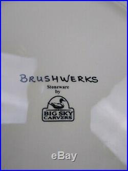 Big Sky Carvers Brushwerks Stoneware Log Cabin Dinnerware Bear Salad Plates 4