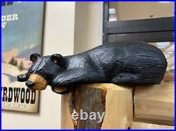 Big Sky Carvers Clyde Shelf Bear Cub Jeff Fleming Wood Statue Bearfoots Carving