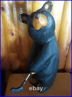 Big Sky Carvers Jeff Fleming Bearfoots Arnold Golfer Pine Wood Sculpture Bear