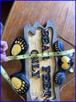 Big Sky Carvers Jeff Fleming Bearfoots. Bear Feet Only Sign Sculpture
